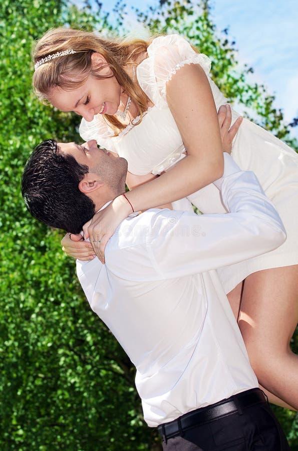 Happy couple enjoying vacations royalty free stock photos