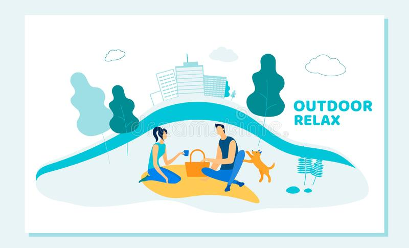 Happy Couple Dating Outdoors on Picnic with Pet. Happy Couple of Family or Friends Characters Dating Outdoors on Picnic with Pet. Young Man and Woman Outdoor vector illustration
