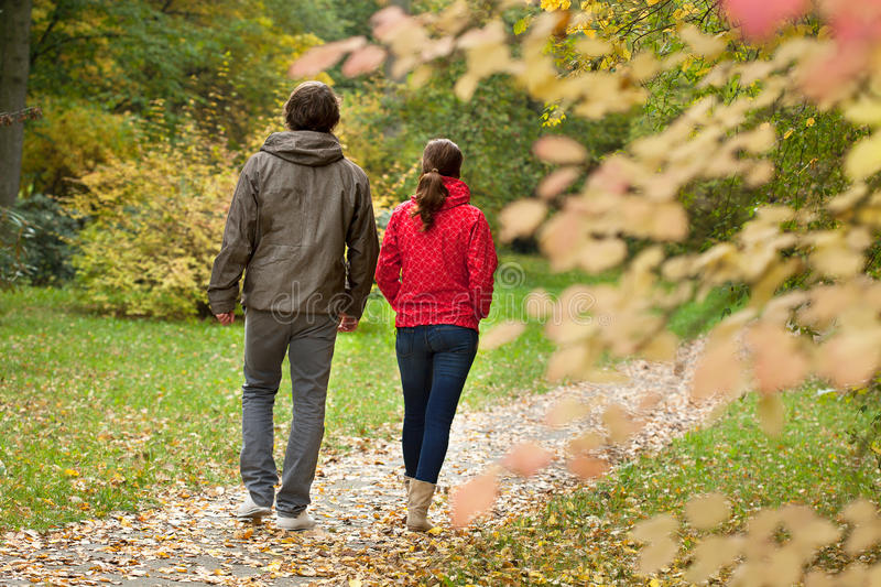 Happy couple in forest stock image