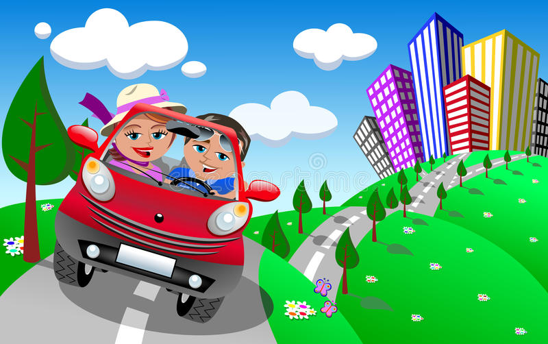 Happy Couple Going on a Day Trip Outdoor. Illustration featuring Bob and Meg in red small cartoon coupe car taking a day trip outdoor. Eps file is available. You stock illustration