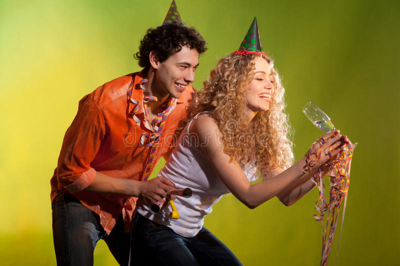 Happy couple have fun in studio royalty free stock image