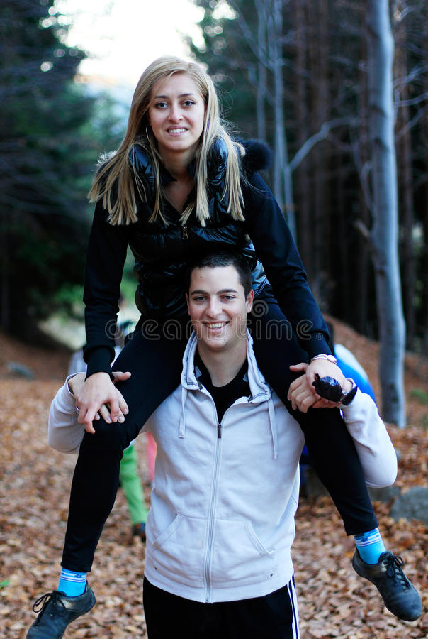 Happy couple having fun stock photo
