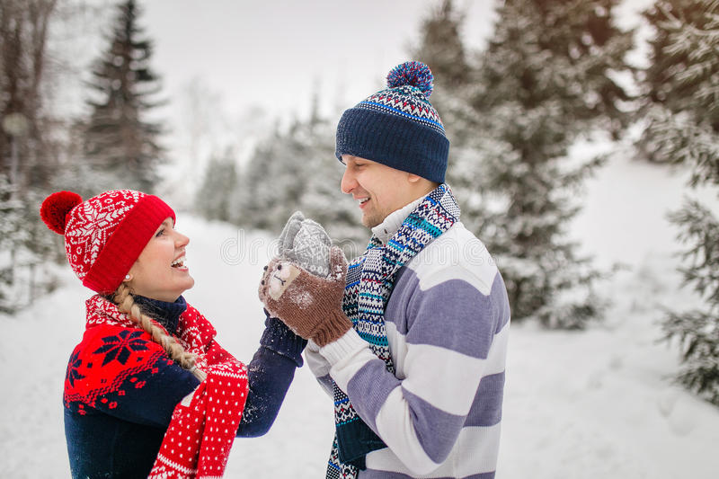 Happy Couple Having Fun Outdoors in Winter park.  royalty free stock photos