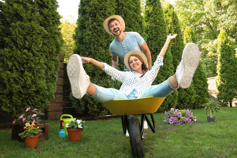 Happy couple having fun while working together stock photography