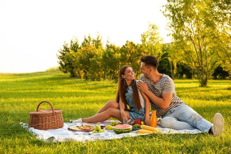 Happy couple having picnic on sunny day royalty free stock photo