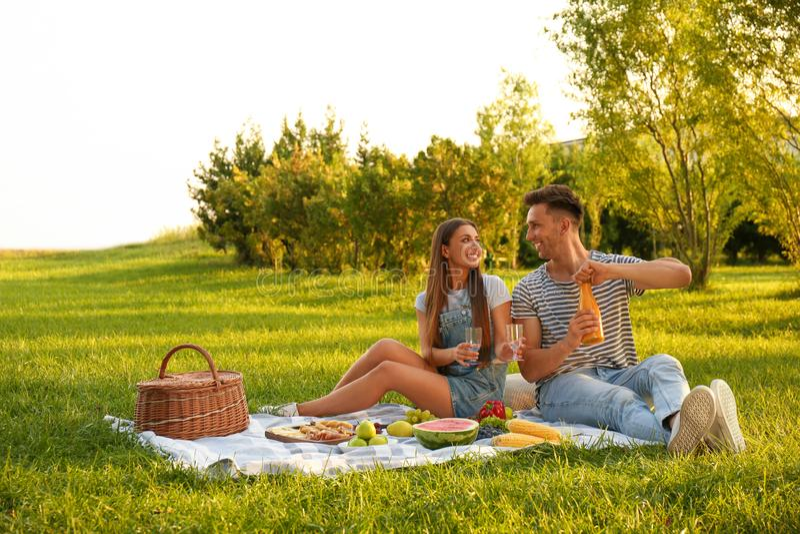 Happy couple having picnic on sunny day stock photo
