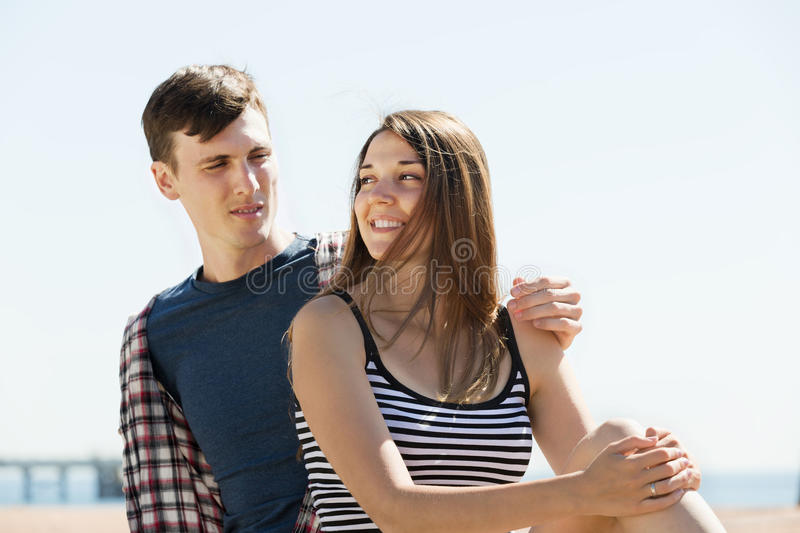 Happy couple having romantic date royalty free stock images