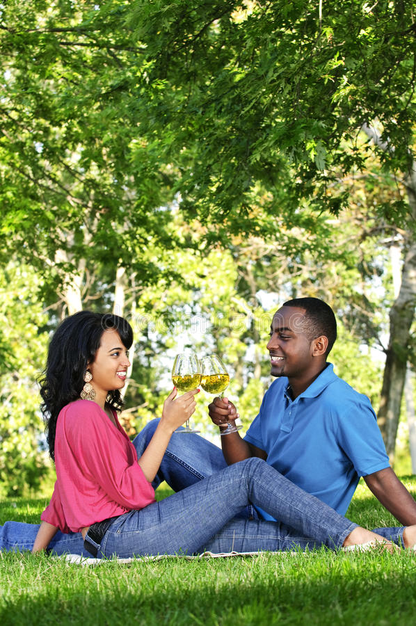 Happy couple having wine in park royalty free stock image