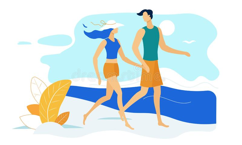 Happy Couple Holding Hands Walking along Seaside. Love, Human Relations, Friendship. Loving Pair of Male and Female Characters Spending Time on Sea Coast at vector illustration