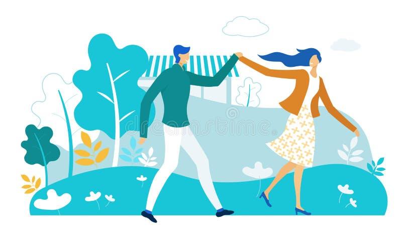 Happy Couple Holding Hands Walking in City Park royaltyfri illustrationer