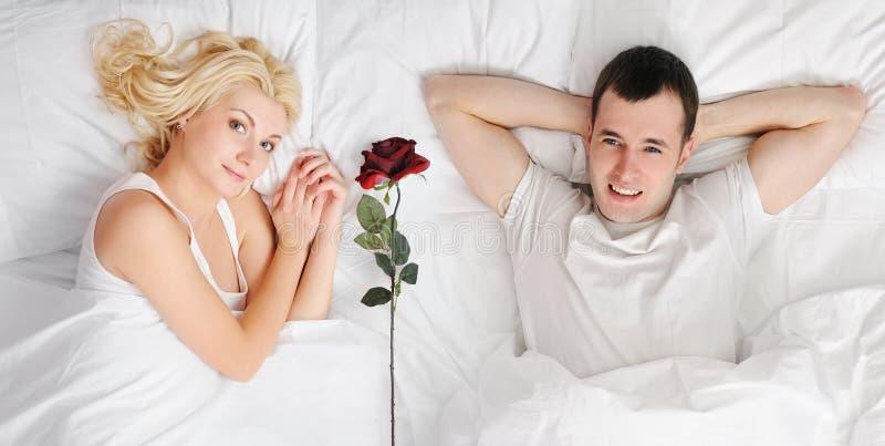 Download Happy couple at honeymoon stock image. Image of bedroom - 13600511