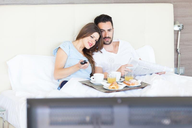 Happy Couple At Hotel Room Stock Photo