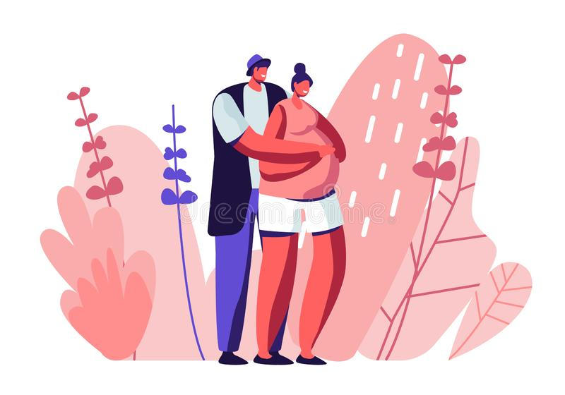 Happy Couple of Husband and Wife Prepare Become Parents. Man Embracing Pregnant Woman with Big Belly. Young Family royalty free illustration