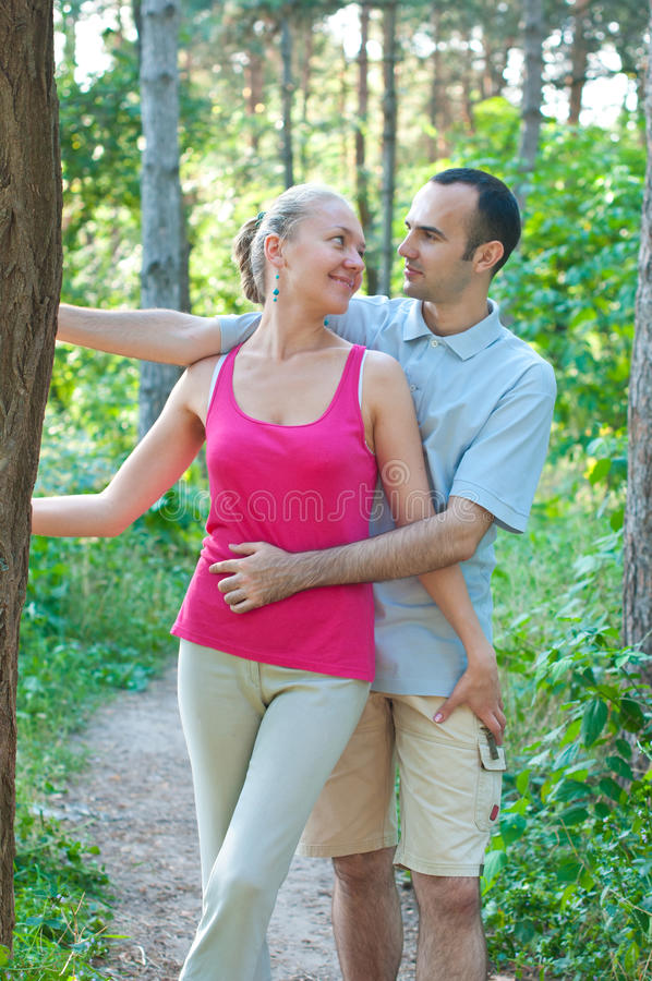 Free Happy Couple In A Forest Stock Photo - 20444350