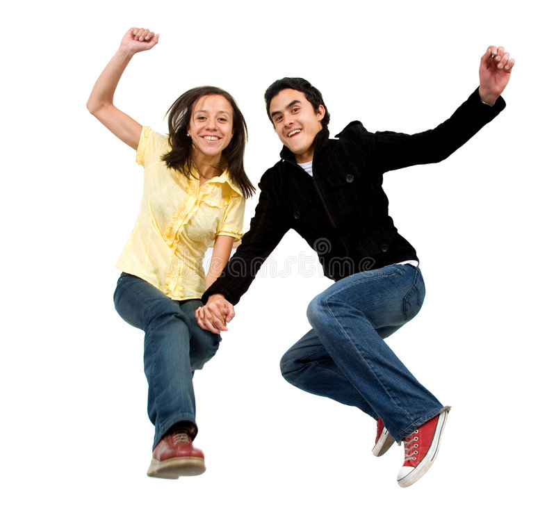 Download Happy couple jumping stock image. Image of looking, growth - 2623673