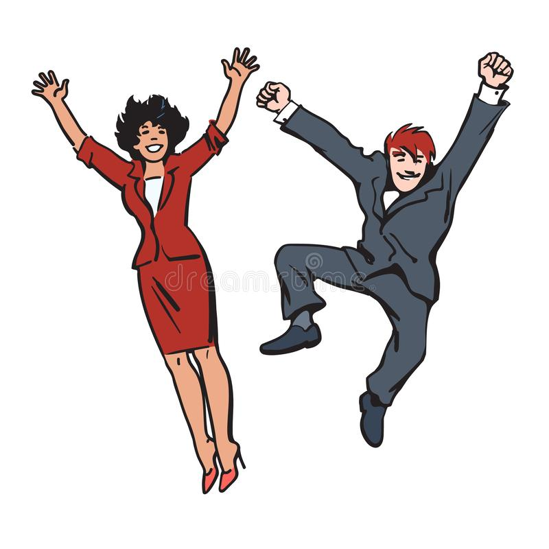Happy couple jumping and having fun. Woman and man jump, dance and fool around. Employees celebrate their success. Hand vector illustration