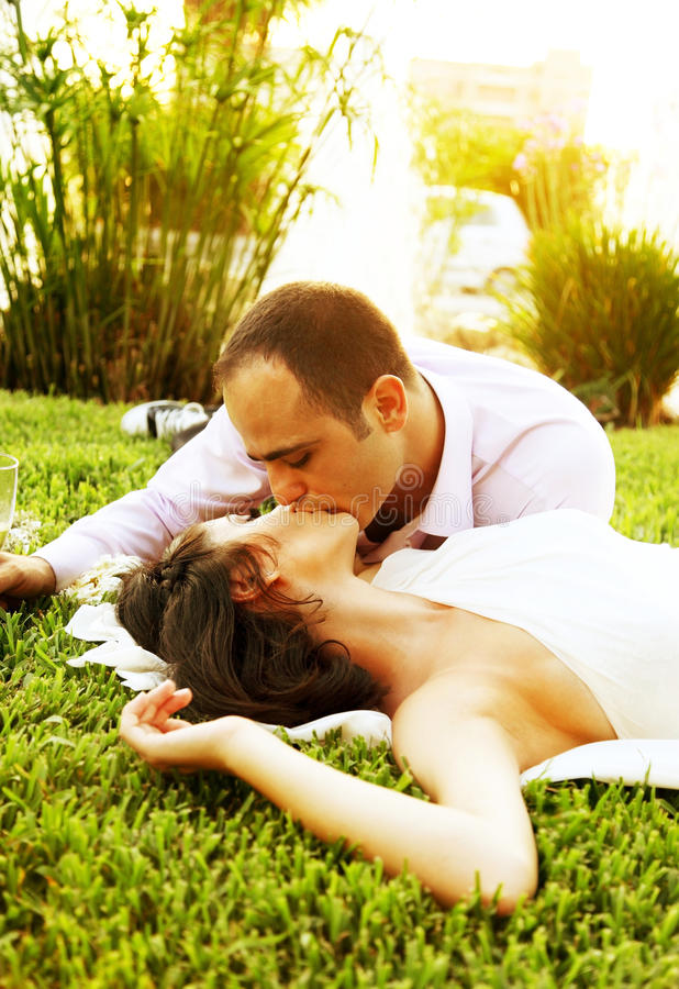 Download Happy couple kissing stock image. Image of bridal, groom - 18177411