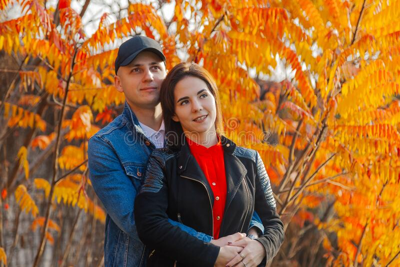 Happy couple in love on a background of yellow leaves in autumn. Happy couple in love on a background of yellow leaves in autumn royalty free stock image