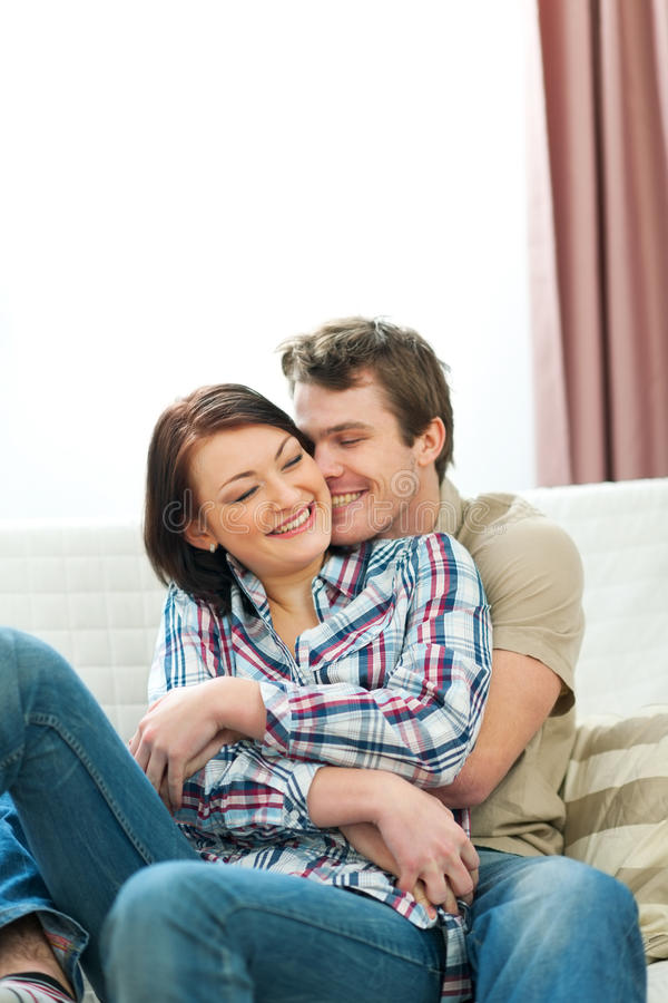 Happy couple in love enjoying themselves royalty free stock image