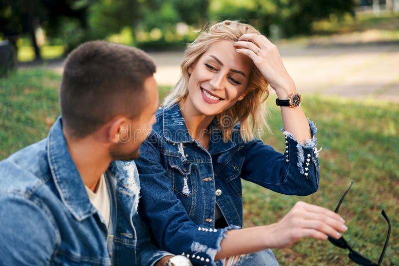 Happy couple in love flirting while dating royalty free stock photos