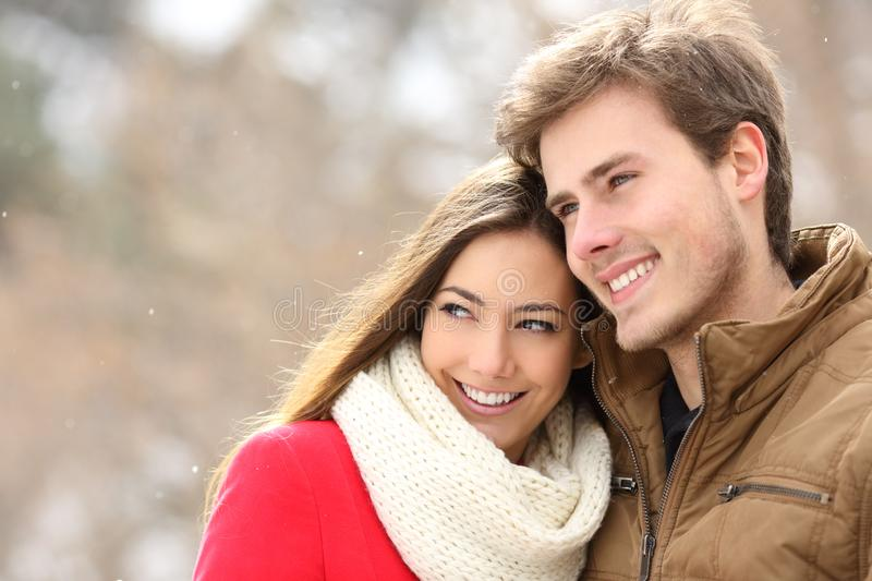 Happy couple in love looking away in a snowy winter royalty free stock photo