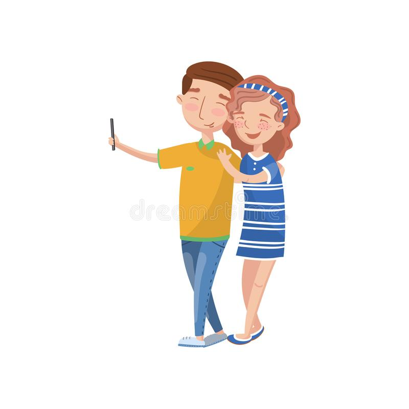 Happy couple in love making selfie photo cartoon vector Illustration. On a white background royalty free illustration