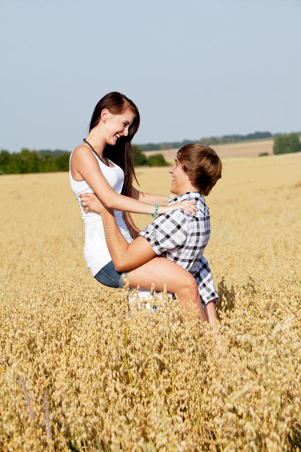Download Happy Couple In Love Outdoor In Summer On Field Stock Image - Image: 26062731