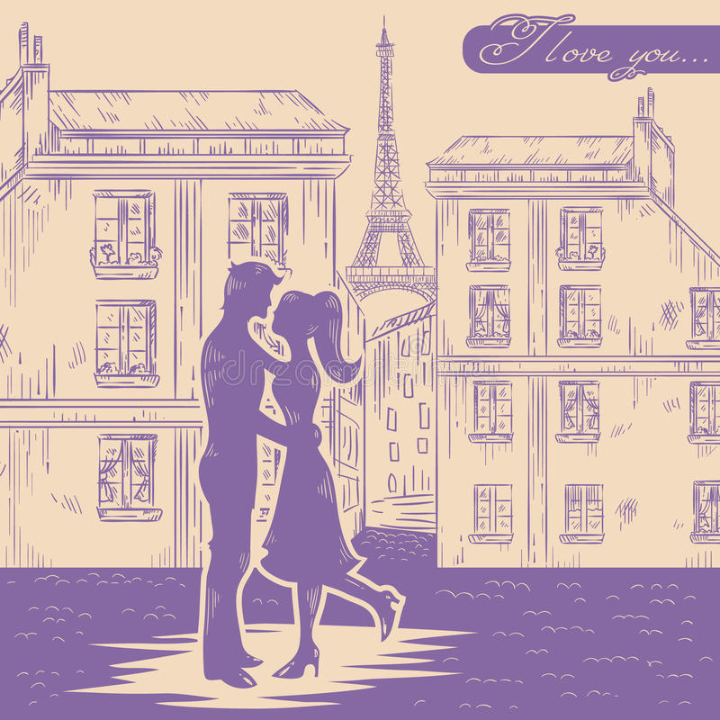 Happy Couple In Love On Paris Street Background Royalty Free Stock Image