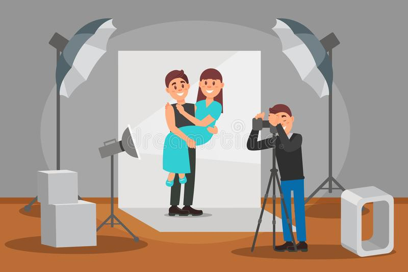Happy couple in love posing at photo session, photographer making photos, photo studio interior with professional. Equipment vector Illustration, web design vector illustration
