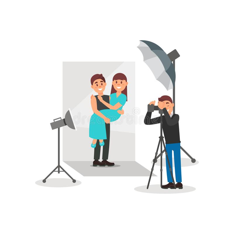 Happy couple in love posing in photo studio, photographer making photos, white background with lights and camera vector. Illustration, flat style stock illustration