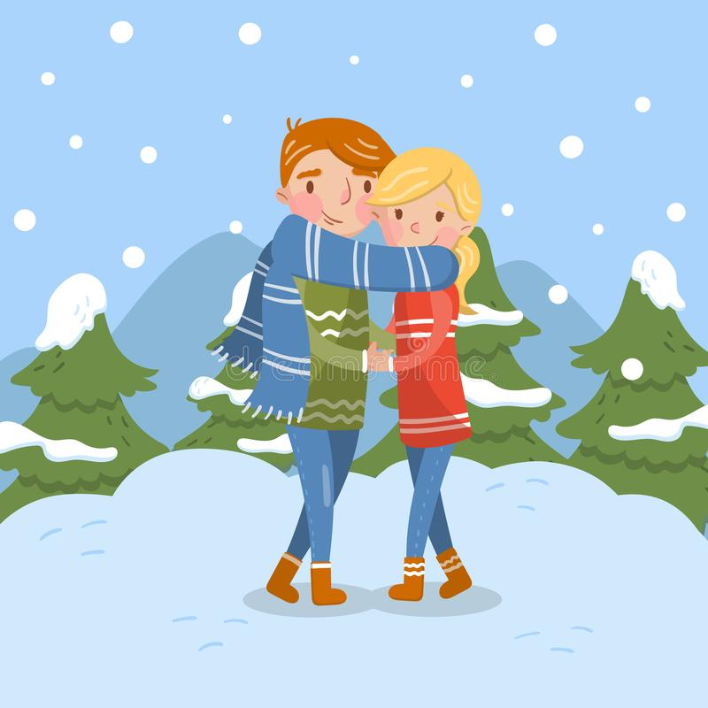 Happy couple in love, romantic man and woman characters stock illustration