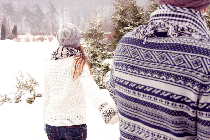 Happy couple in love walking away in park in winter. Young adult couple walking in snow covered park stock images