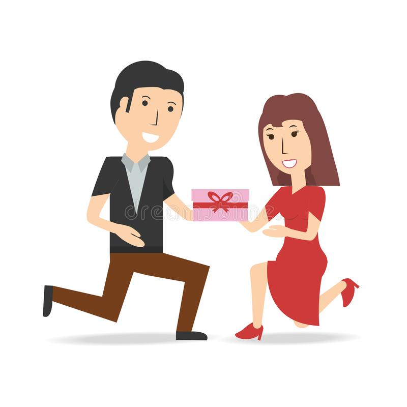 Happy couple lover with present gift. Vector illustration royalty free illustration