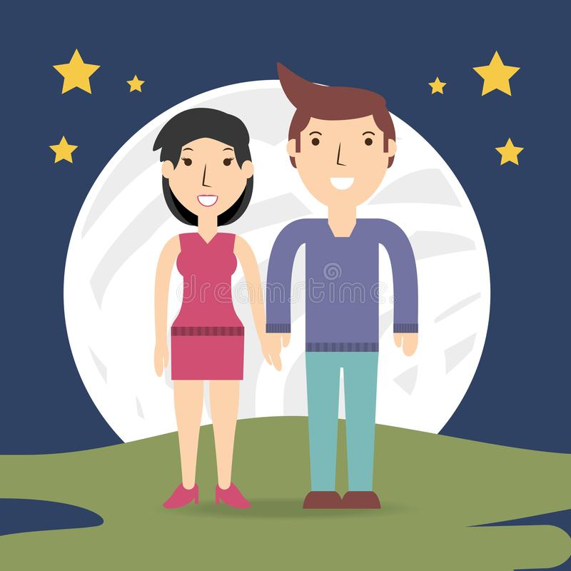 Happy couple lover with romantic relationship. Vector illustration vector illustration