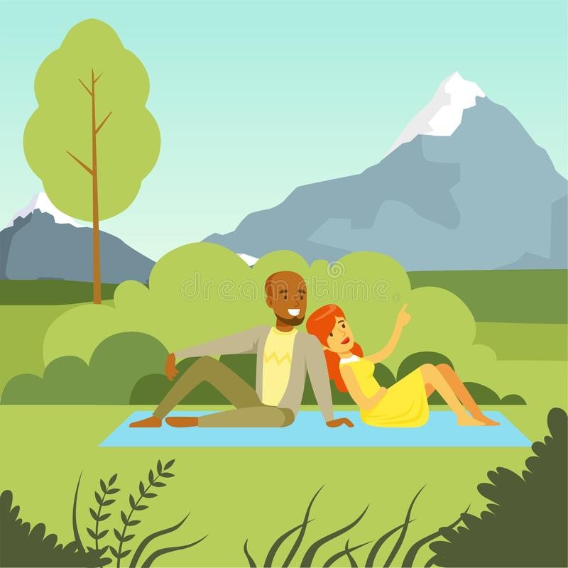 Happy couple lying on the lawn in the park enjoying relax on nature background, flat vector illustration. Design element for poster, banner royalty free illustration