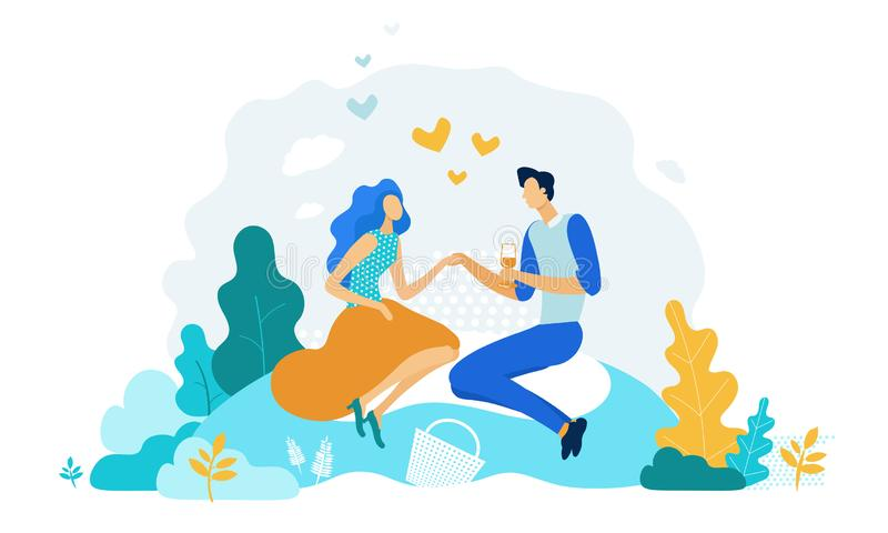 Happy Couple Dating Outdoors on Picnic. Meeting. Happy Couple of Male and Female Characters Dating Outdoors on Picnic. Declaration of Love, Young Man Holding vector illustration