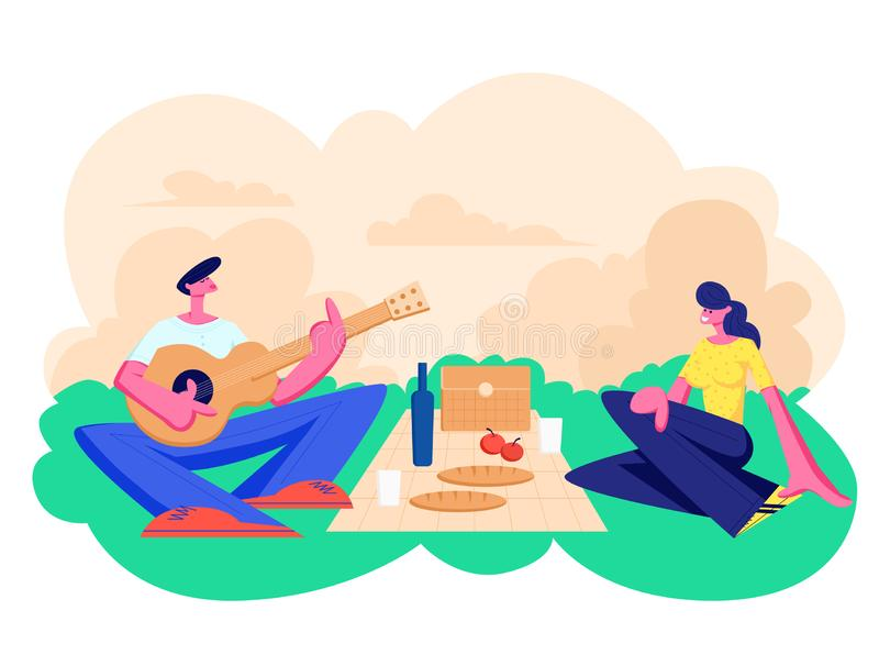 Happy Couple of Male and Female Characters Dating Outdoors on Picnic. Declaration of Love, Young Man Playing Guitar, Singing Song. To Girl, Romantic Relations stock illustration