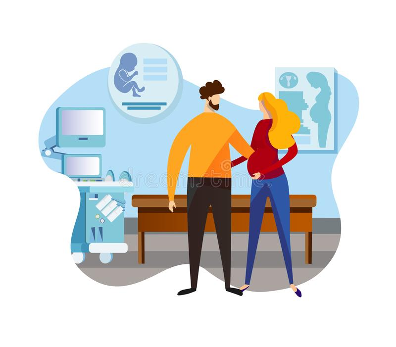 Female and Male Characters Standing at Ultrasound. Happy Couple Man and Pregnant Woman. Embracing Young Parents Expecting Baby. Female and Male Characters royalty free illustration