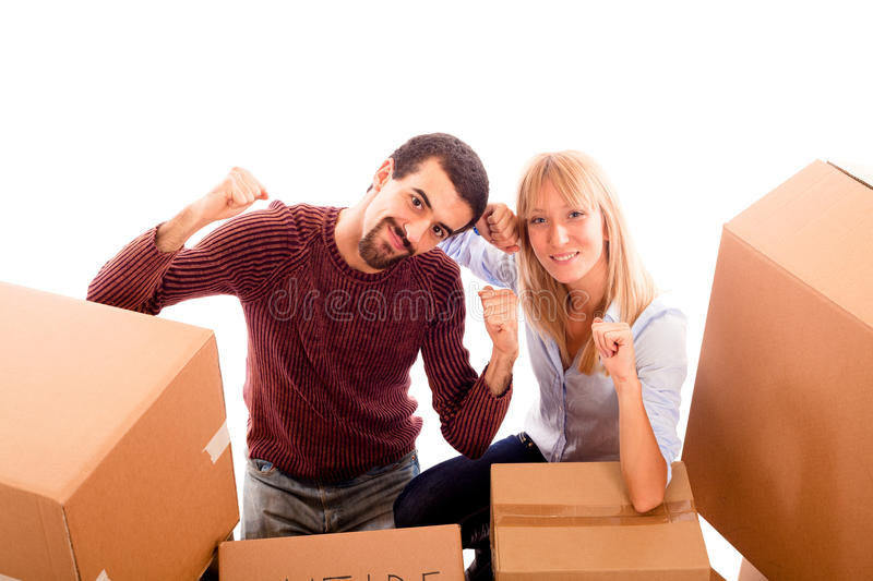 Download Happy Couple on Moving stock photo. Image of hair, office - 17776094