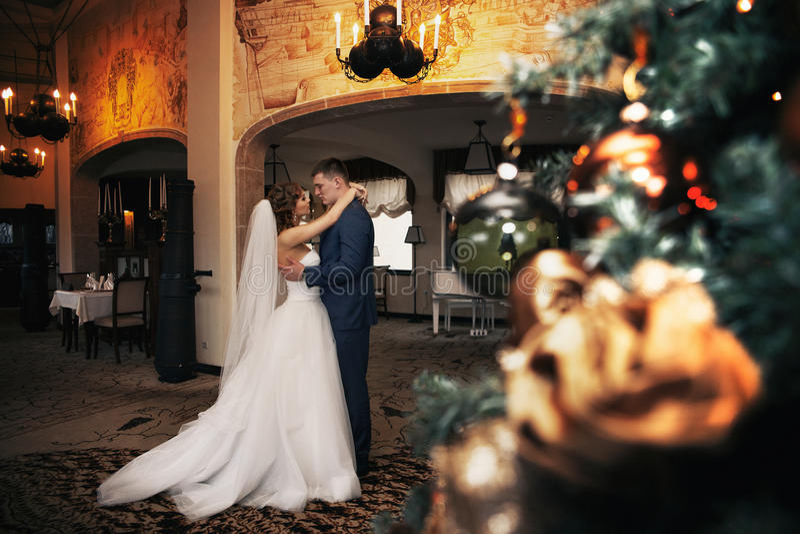 Happy couple of newlyweds hugging, christmas foreground royalty free stock image