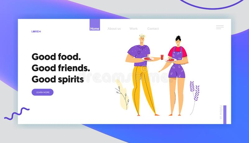 Happy Couple op BBQ Party Eating Grilled Meat Landing Page Barbecue in Park met man- en vrouwenkarakters stock illustratie