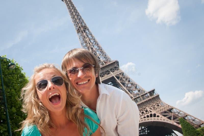 Happy couple in Paris stock photo