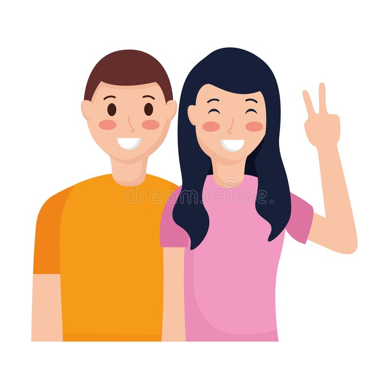 Happy couple posing. Hand peace and love vector illustration royalty free illustration