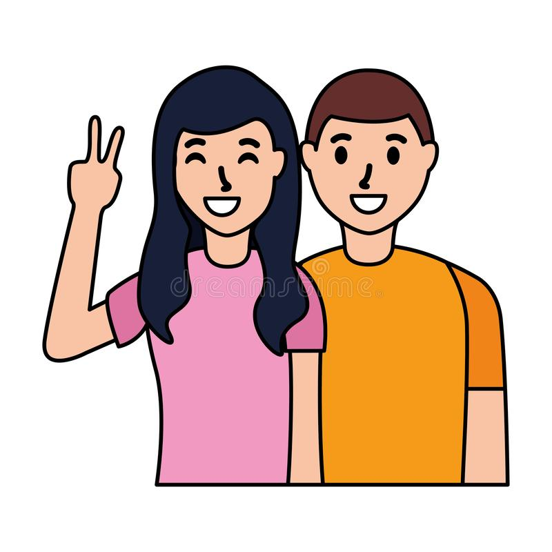Happy couple posing. Hand peace and love vector illustration stock illustration