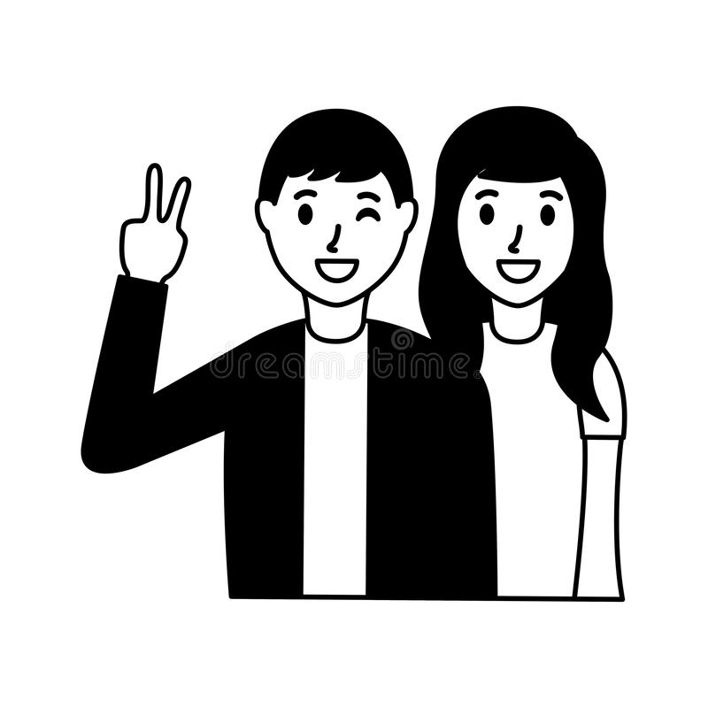 Happy couple posing. Hand peace and love vector illustration vector illustration