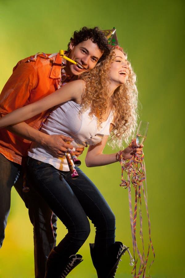 Happy couple posing in studio stock photos