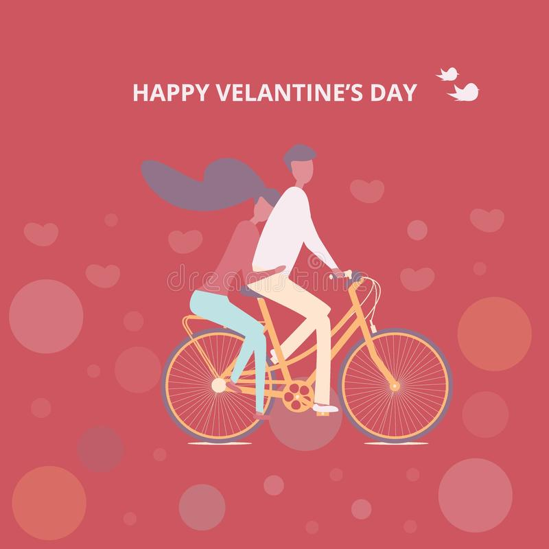 Happy couple is riding a bicycle together Illustration of Love and Valentine Day. Happy couple is riding a bicycle together on red background. Illustration of stock illustration