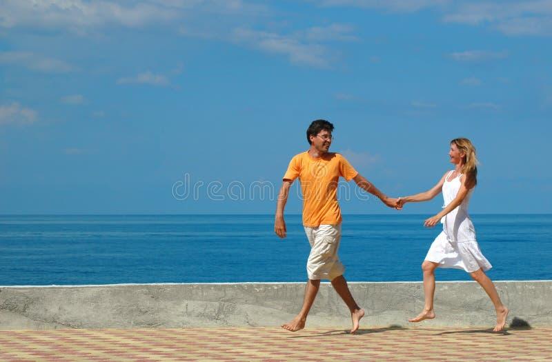 Happy Couple Run Royalty Free Stock Photo