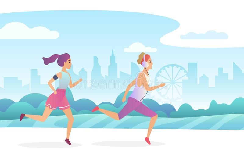 Happy couple running in the city public park. Trendy gradient flat style vector illustration. vector illustration