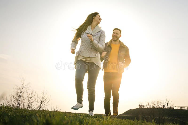 Happy couple in the park. stock photo